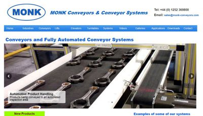 Monk Conveyors Website